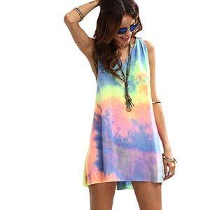 Sleeveless V Neck Tie Dye Tunic/Dress, Sz. S